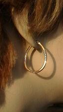 """14K TRI COLOR GOLD HOOP EARRINGS 1 3/16"""""""