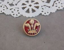"""Prince of Wales Red Enamel Pin Ich Deim / I Serve 5/8"""" Lapel Hat 3 Feather Plume"""