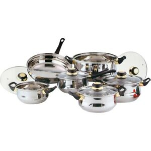 12pc Stainless Steel Cookware Set Frying Pan Saucepan Casserole with Glass Lid
