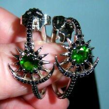 RARITIES Green Tourmaline & Black Onyx Sterling Sun/Moon Hoop Earrings Jewelry