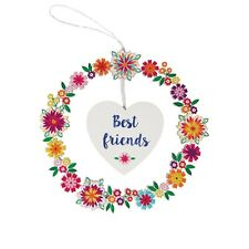 Sass & Belle Best Friends Flower Pop Wreath Hanging Decoration Shabby Chic Boho