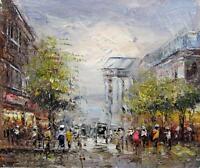 scène parisienne 20 x 25cm étiré peinture huile toile art décoration mura814
