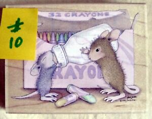 HOUSE MOUSE MOUNTED RUBBER STAMP - 2003 - BOTTLE TIME - MINT NEVER USED # 10