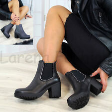 New Womens Chelsea Ankle Boots Studs Chunky Block Heel Comfy Grip Sole Shoes