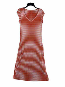 Toad & Co Orange & White Strip Short Sleeve Women's Muse Dress Size Small