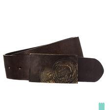 RRP €55 DIESEL Size 95 / 38 B-WARRIOR 100% Leather Mohawk Blank Buckle Belt