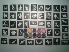 40 pochoir de tatouage pour les tatouages paillettes art corporel + 10 couleur