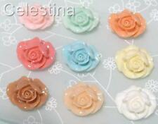 10 x Rose Resin Flat Back Cabochon 21mm x 19mm - Mixed Colours - CAB16