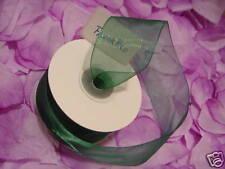 "1.5"" X 75' GREEN Organza Sheer Ribbon Wedding Gift new"