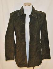 Vtg Caslon Forest Green Leather Button Tailored Designer Coat Jacket Blazer Pm