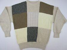 Orvis Men's XL Crew Neck Patchwork Cable Knit Cotton Sweater EUC