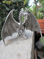 VINTAGE HANDCRAFTED PEWTER DISNEY DRAGON FIGURINE DECORATIVE STATUE, VERY FINE