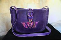 Hand Tooled Purple Leather Shoulder Bag Chiapas Mexico Hippie Boho Cowgirl Mayan