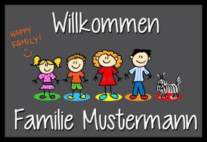 """Lustige Fußmatte """"Willkommen"""" mit Namen und Familienmitgliedern individuell"""