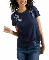 NEW!!! Lucky Brand Women's Top Blouse Knit Palm Tree Tee T-Shirt & Blue, XS