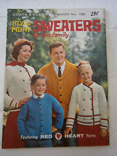 1963 Coats & Clark's Sweaters for the Family Pattern Knit Booklet #139 Cardigan