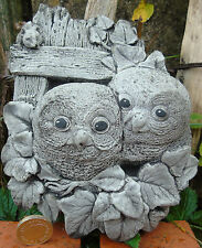 Small Baby Owls Wall Plaque Hand Cast Stone Garden Ornament-13x15x5cms 607 grams