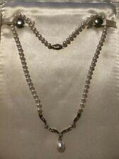 """Zales 10k Yellow gold 16 1/2""""pearl and diamond necklace Wedding  Prom Princess"""