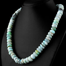 400 Cts Natural 20 Inches Long Peruvian Opal Untreated Round Beads Necklace