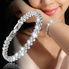 Women Fashion Roman Chain Clear Zircon Crystal Bangle Rhinestone Bracelet Gift B