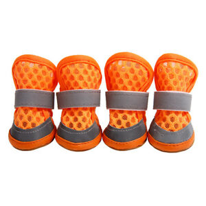 Breathable Mesh Dog Boots Reflective Pet Shoes For Small to Large Dog 4 Pack