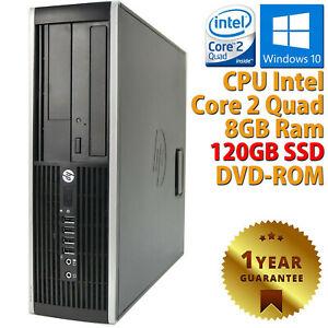 PC COMPUTER DESKTOP RICONDIZIONATO HP CORE 2 QUAD RAM 8GB SSD 120GB WINDOWS 10