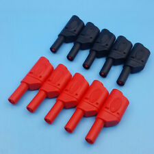 Red Black 10Pcs Safety Fully Insulated Male Stackable Banana Plug Connector 4mm