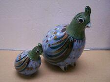 Ken Edwards Tonala Mama and Baby Ceramic Quail Pair - Mexico