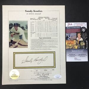 Sandy Koufax MLB Dodgers AMERICAN SPORTS COLLECTIBLES STAT SHEET JSA CERTIFIED