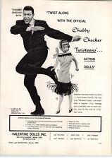 1962 PAPER AD Chubby Checler Twist Dance Valentine Dolls Twisteens Jan Fran