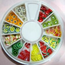 12 Color Wheel of Nail Art Fimo Cane Slices Fruit, Flower, Butterfly, Hearts