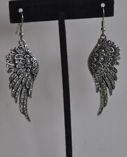Earrings In Silver Tone Kirks Folly Angel Wing Crystal