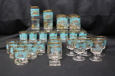 28pc Vtg. Federal SOUTHERN COMFORT Aqua/Gold Paddlewheel Riverboat Bar Glasses