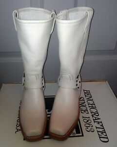 GORGEOUS Luxurious Leather Frye Harness 12R!!! ~Western/Moto Boots Sz 8 White