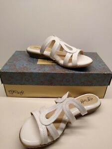 BRAND NEW W/ BOX Euro Soft by Sofft shoes White Slide Sandal Size 6 1/2M