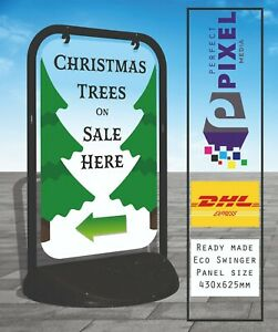 Christmas Trees Eco Swinger Pavement A Board Sign Printed Both Sides