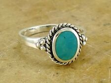 ELEGANT .925 STERLING SILVER TURQUOISE RING size 9  style# r2153