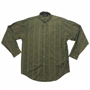 Vintage 80s Christian Dior Monsieur Paisley Green Button-Up Shirt Size Medium