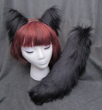 "Black Ears & Tail/17"" SET, Ears or Tail, Cat-Wolf-Fox-Dog, Realistic Faux Fur"