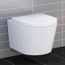 Lyon Wall Hung Toilet with Soft Close Toilet Seat Luxury WC Pan Design White
