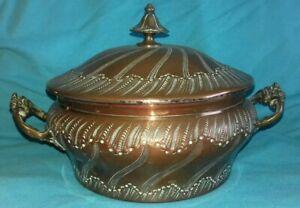 Antique Paris Bi-metal France Silver Copper Belle Epoque Brandy Bowl Soup Tureen