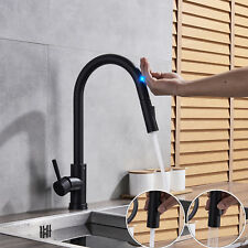 Assistive Touch Matte Black Swivel Kitchen Faucet Pull Out Spray 1Hole Mixer Tap