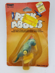 Vintage 1982 TOMY Peck Abouts Woodpecker Wind-Up Toy New Original Packaging