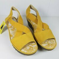 FLY London women sandals yellow leather Gored Cross-Band Wedges 7 7.5 38