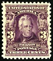 #302 Mint NH, XF & Well Balanced 1903 Reg. Issue 3c Jackson, PF Cert.