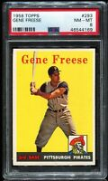 1958 Topps Baseball #293 GENE FREESE Pittsburgh Pirates PSA 8 NM-MT