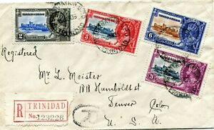 1935 Silver Jubilee Trinidad & Tobago set on a registered cover to USA