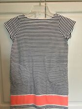 10 NEW Crewcuts Sht/Sl Navy Striped Color Block Dress Pink near Hem 100% Cotton