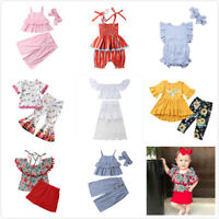 2/3pcs Sweet Kids Girls Floral Clothes Set Lace Short Sleeve Tops+Flare Pants