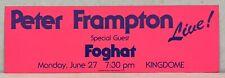 Peter Frampton Kingdome Seattle 1976 Promo Concert Bumper Sticker Foghat Mint!